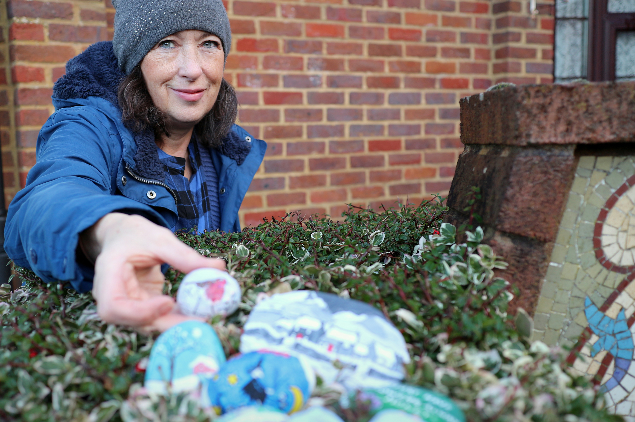 Cranleigh world record attempt with painted pebbles